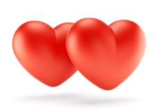 Two red hearts illustration Stock Image