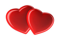 Two red hearts isolated on white, 3d rendered image Stock Image