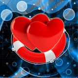 Two red hearts in life buoy Royalty Free Stock Photography
