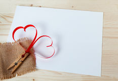 Two red hearts made of paper Royalty Free Stock Image