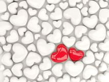 Two red hearts over white hearts pattern. 3D illustration Royalty Free Stock Photography