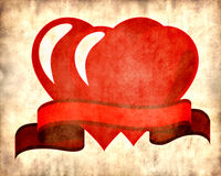 Two red hearts on parchment background Stock Images