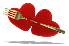 Two red hearts pined Stock Photography