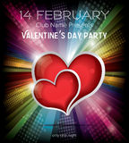 Two red hearts on rainbow background. Happy Valentines Day Party Flyer Design Template on Rainbow Background. Vector Illustration. Club Flyer Concept with Two stock illustration