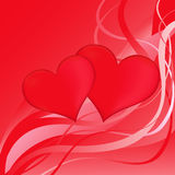 Two red hearts on a red abstract background Stock Images