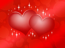 Two red hearts on red background Stock Image