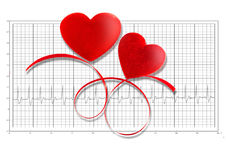 Two Red  Hearts  with red ribbon on electrocardiogram. Royalty Free Stock Image