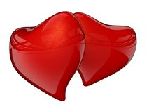 Two red hearts with reflection. 3D render Maya mental ray royalty free illustration