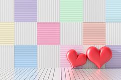 Two red hearts in the room. The wood walls are decorated with bright colors and variety. Rooms of Love on Valentine`s Day. Backgro. Und and interior. 3D render royalty free illustration