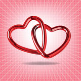 Two red hearts of steel linked together realistic  illustr Stock Photo