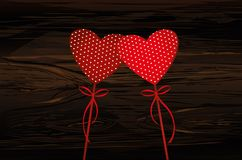 Two red hearts on a stick with bow and ribbon. Valentine`s Day. Vector illustration. Greeting card with empty space for the text or advertising. On wooden Royalty Free Stock Photos