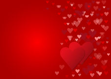 Two red hearts Valentine card Royalty Free Stock Image