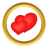 Two red hearts vector icon Stock Image