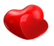 Two red hearts on white Royalty Free Stock Images