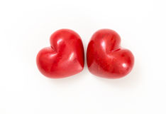 Two red hearts on white Royalty Free Stock Photos