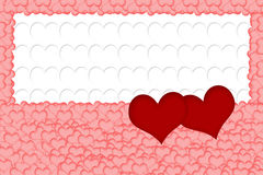 Two red hearts on white background formed from white hearts Royalty Free Stock Photo