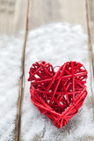 Two red hearts on wooden background, Valentine`s day, the holiday of love Royalty Free Stock Image