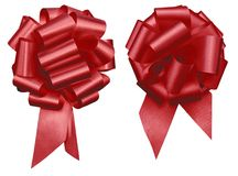 Two red holiday decretive pull bow cluster issolated on white background mothers day, Christmas, Valentine's Day and events royalty free stock photography