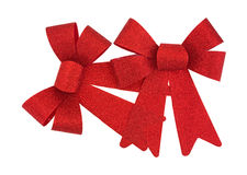Two red holiday ribbons Stock Image