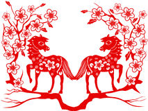 Two red horse for Chinese new year Royalty Free Stock Images