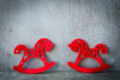 Two red horses, the old background Stock Images