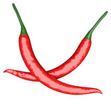 Two red hot chili pepper Royalty Free Stock Photos