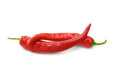 Two red hot chilli peppers Stock Images