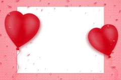 Two red inflatable heart-shaped balloons on a pink background. Empty white sheet for text. Copy space. Mothers Day