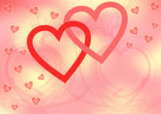 Two red intertwined big open hearts Royalty Free Stock Photos