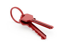 Two red keys isolated on white Stock Photography
