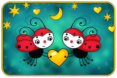 Two red ladybugs with Yellow heart - birthday Royalty Free Stock Image