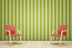 Two red leathe armchair Royalty Free Stock Images