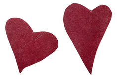 Two red leather hearts isolated Stock Image