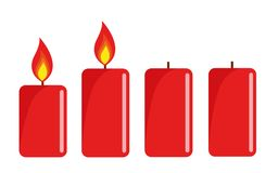 Two red lighted advent candle white background vector illustration