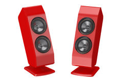 Two red loudspeakers Royalty Free Stock Images
