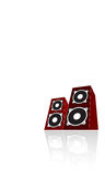 Two red loudspeakers. Vector Stock Photo