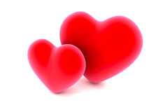 Two red love hearts on white Stock Photography