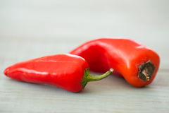 Two Red Mini Sweet Bell Peppers Royalty Free Stock Photo