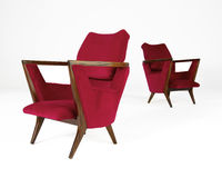 Two Red Modern chairs. Isolated on white with clipping path Royalty Free Stock Photography