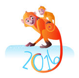 Two red monkeys vector illustration Royalty Free Stock Image