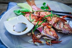 Red mullet fish style. Two red mullet with chili pepper and soja sauce on plate with chopstick Stock Photography