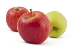 Two red and one green apples on white. Background Royalty Free Stock Image