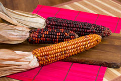 Two red and one yellow corns on a wooden board Royalty Free Stock Image