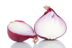 Two red onion halves Royalty Free Stock Images