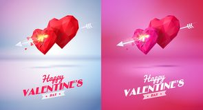 Two red origami heart   pierced by an arrow. Royalty Free Stock Photo