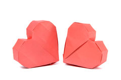 Two red origami paper heart Stock Photography