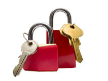 Two red padlocks with keys Royalty Free Stock Photos