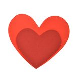 Two red paper heart shape. Two cut out of paper heart shape Stock Photo