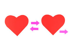 Two red paper hearts with three pink arrows, concept relationshi Royalty Free Stock Photo