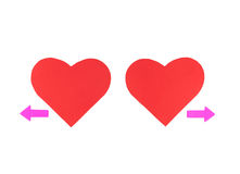 Two red paper hearts with two arrows, concept relationships Stock Images